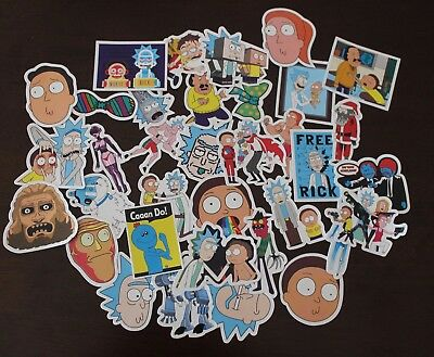 Rick And Morty Skateboard/laptop/fridge 35 Stickers Per Pack Waterproof