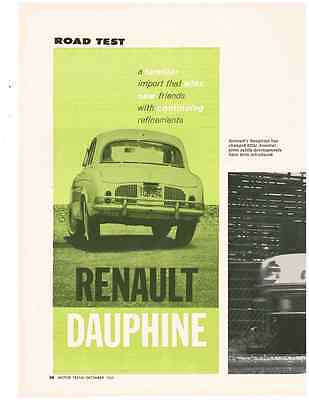 1961 Renault Dauphine  ~  Original 4-Page Road Test / Article / Ad