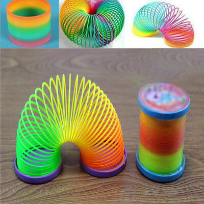 Colorful Rainbow Plastic Spring Toy Walking Magic Circle Stretchy Kids Noted