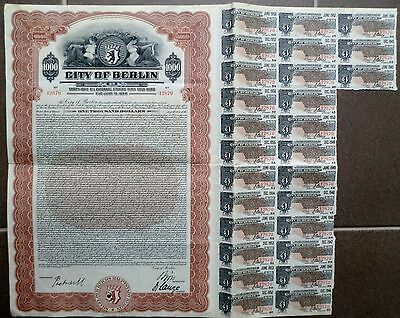 6% City of Berlin, State of Prussia, 1928 Gold Bond due 1958 (1.000 $) + Coupons