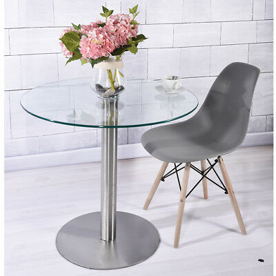 Small 80cm Clear Round Tempered Glass Dining/Kitchen Table & Chairs Cafe Style