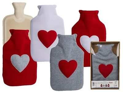 Hot Water Bottle & Cover -  2 Litre Warmer - Star or Heart Fleece Valentines Day