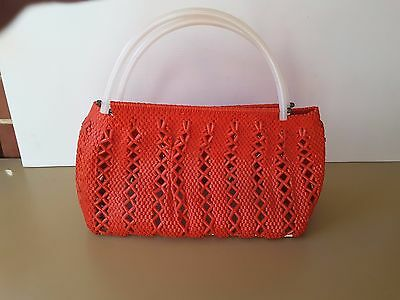 1960s  vintage rockabilly retro RED  PLASTIC  handbag  CRAFT HAND CRAFTED