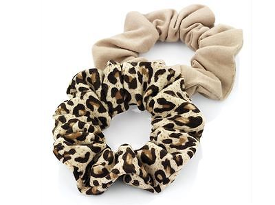 2 x Jersey Cotton Hair Scrunchie Bobbles  Plain Beige & Brown Animal Print