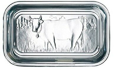 Storage Glass Embossed Cow Design Lid Butter Dish dairy kitchen fridge