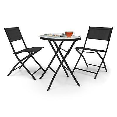 3 Pieces Table Chair Garden Restaurant Bar Club Wicker Bistro Home Patio Black