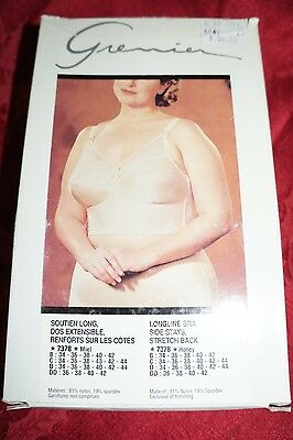 New Vtg Women's Grenier Bra Longline Side Stays Stretch Back Honey 36 B 7378 36B