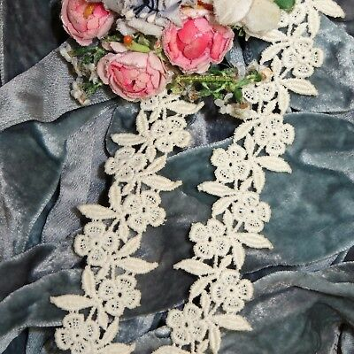 4pc ROSE APPLIQUE VTG WHITE FLOWER LACE CROCHET TRIM DOLL FRENCH VENISE SCHIFFLI