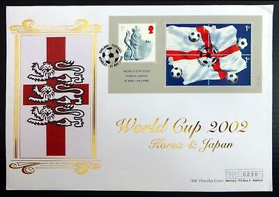 GB 2002 Football World Cup M/Sheet on Silk FDC with Wembley Cancel NB3846