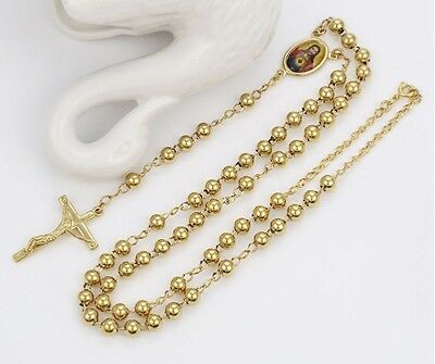 14k Gold Filled Rosary Prayer Jesus Chunky Beads Necklace Chain