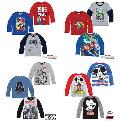 Boys Long Sleeve T-Shirt Top Super Mario Star Wars Age 2-12 Cotton New Official