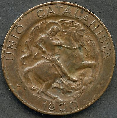 1900 Spain Union Catalanista Barcelona 5 Centimos Coin