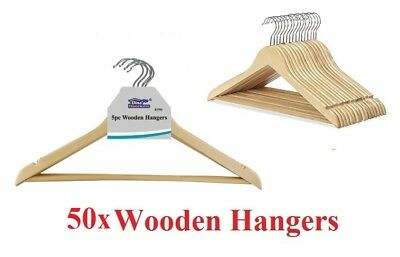 50x Wooden Hangers Clothes Coat Hanger Non Slip Garment Suit Trouser Bar 45cm