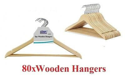 80x Wooden Hangers Clothes Coat Hanger Non Slip Garment Suit Trouser Bar 45cm