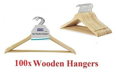 100x Wooden Hangers Clothes Coat Hanger Non Slip Garment Suit Trouser Bar 45cm