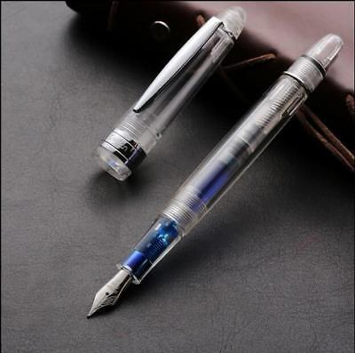LECAI Transparent Acrylic Fountain pen Fine 0.5mm F Nib For Glitter Colorfu Ink