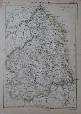 Original 1890 Shire Map NORTHUMBERLAND England Newcastle Tynemouth Cheviot Hills