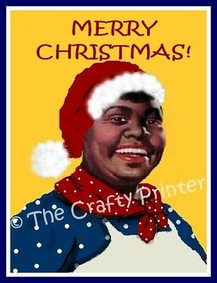 "SET of SIX - BLACK AMERICANA CHRISTMAS CARDS - ""Aunt Jemima"""