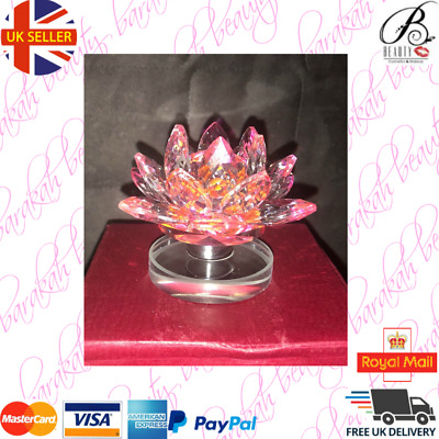 Large Crystal Lotus (pink / Clear Colour) Lotus Flower Glass Base with Spinning