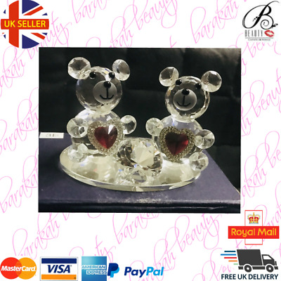 Crystal Pair Teddy Bears With Red Hearts Love Valentine Gift Box