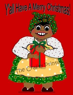 "SET of SIX - BLACK AMERICANA CHRISTMAS CARDS - ""Mammy Greeting"""