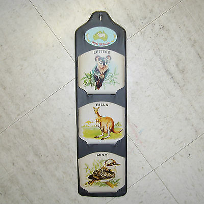 Vintage Japan Tin Plastic Letter Holder Wall Mounted Pockets Australia Animals