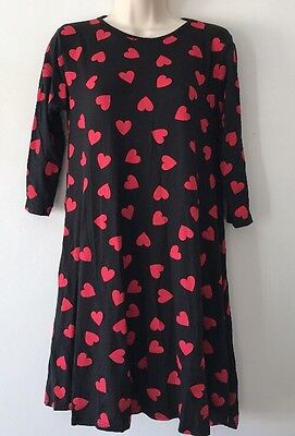 Women Size 12 Dress By LIQUID in Black With Red ❤️Prints EC