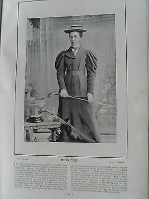 Victorian Photographic Print of MISS COX IRISH LADY GOLF CHAMPION