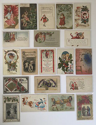 Vintage Early 1900s CHRISTMAS POSTCARDS Lot #19