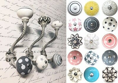 Grey vintage iron hooks coat hooks with ceramic knobs