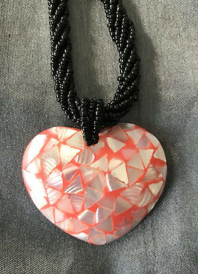 Orange Heart Shell Pendant with Twisted Bead Chain -Hand Crafted- Great Gift!