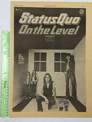 STATUS QUO full page print ad On The Level 1975 vintage