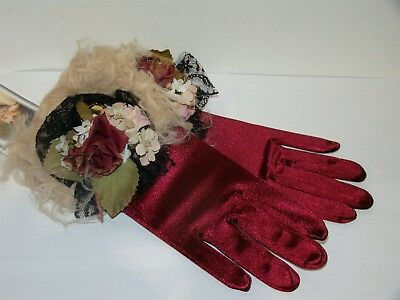 Victorian Trading Co Madame Claus Red Satin & Floral Gloves