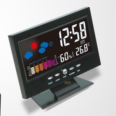Colorful LCD Digital Thermometer Hygrometer Alarm Clock Voice Control