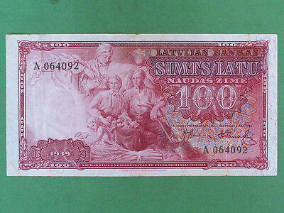 LATVIA 1939, 100 Lats Collectable Banknote. XF