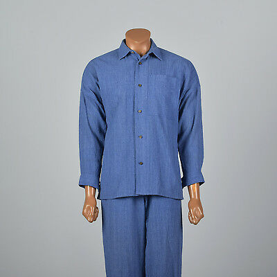 S Mens Issey Miyake Plantation Two Piece Chambray Suit Blue Cotton Summer VTG