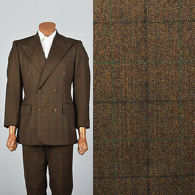 40R Mens 1970s Brown Wool Windowpane Suit Plaid Peak Lapel Double Breasted VTG