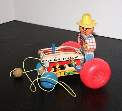 Vintage 1961 Fisher Price Pull Along Wooden Toy Tractor - 629
