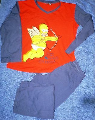 L3084 Pijama Largo T-M The Simpsons. Camiseta Manga Larga Cuello Pico Estampado