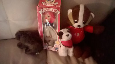 4 Stuffed Bear Dog Badger and Raggedy Ann from Banks
