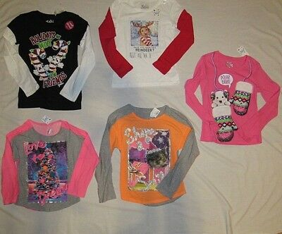 New Justice Girls Size 6 7 8 12 14 18 Holiday/christmas Scented Lslv T-Shirt/top