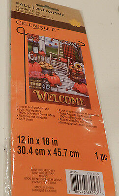 "Celebrate It! - ""WELCOME"" FALL Autumn GARDEN Flag 12"" x 18"" - Brand NEW, Sealed"