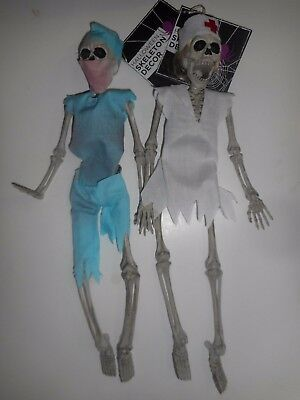 """Halloween 16"""" Poseable Plastic Hanging Doctor and Nurse Skeleton Decoration New"""