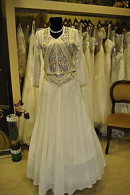 Antique Original cca 1850 Heavily Beaded Hand Work Skirt Suit Bride Dress Small