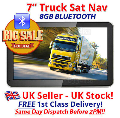 7 inch BLUETOOTH HGV/truck sat nav with latest 2017 released maps & FREE updates