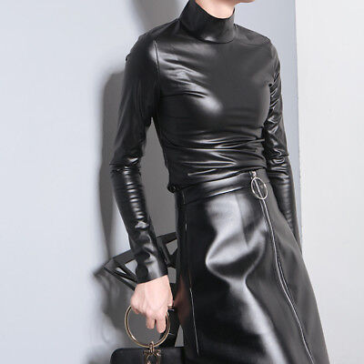 Women Black Shirt PU Leather Long Sleeve Stand Collar Slim Coat Blouse Tops Sexy