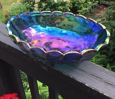 Carnival Glass Oval Footed Bowl