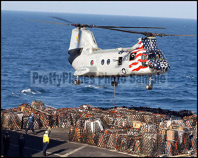 USN H-46 Sea Knight Helicopter CH-11 USS Camden 2003 8x10 Aircraft Plane Photos