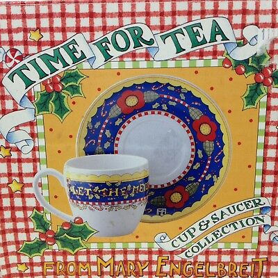 Mary Engelbreit Christmas Time For Tea Cup Saucer Let the Merrymaking Begin Mug