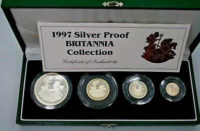 1997 Britannia Silver Proof Collection With Certificate & Box----4 Proof Coins